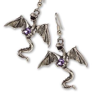 Dragon with Purple Crystal Earrings
